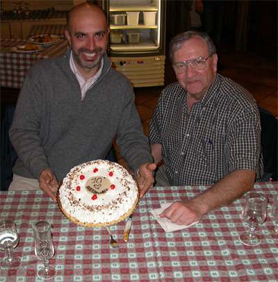 Stanley Leibo with Marcello Raspa, in Monterotondo, November 2009, at the 10th anniversary of the EMMA-JAX annual cryopreservation course (Photograph by Lluis Montoliu).