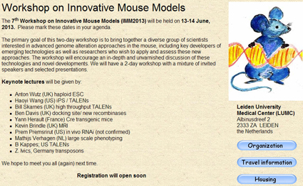 7th Workshop on Innovative Mouse Models (IMM2013), Leiden, The Netherlands, 13-14 June 2013