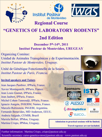 "2011 Course on ""Genetics of Laboratory Rodents"", Inst. Pasteur-Montevideo, December 5-14"