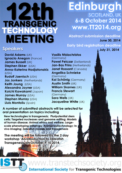 Upades scientific and workshop programmes for TT2014 meeting in Edinburgh: Please, register today!.