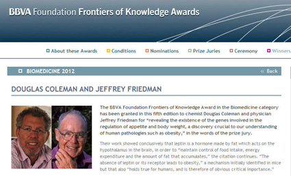 Douglas Coleman and Jeffrey Friedman granted the 2012 BBVA Foundation Frontiers of Knowledge Award in Biomedicine
