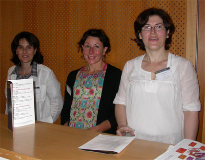 Séverine Menoret (right) and her colleagues from the local organizing committee