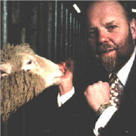 Ian Wilmut and Dolly the sheep in 1997